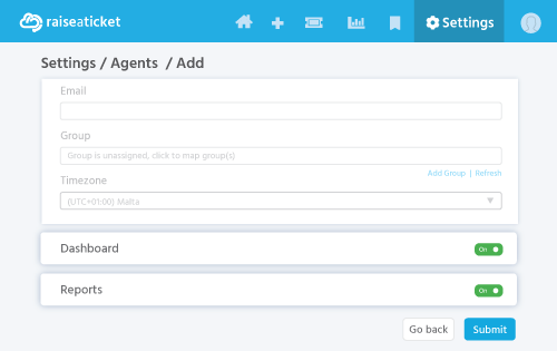 Reports and dashboards are enabled for all agents by default