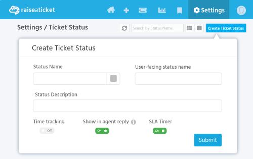 Create ticket status