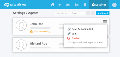 Resend the activation email to agents